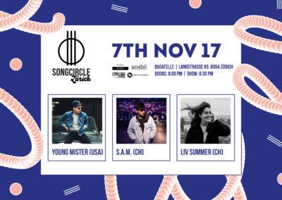 Di. 7. November 2017 | 20:00 Uhr | Songcircle Zürich