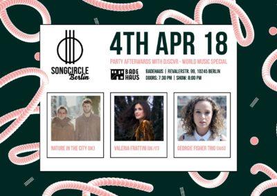 Mi. 4. April 2018   19.30 Uhr   Songcircle Berlin